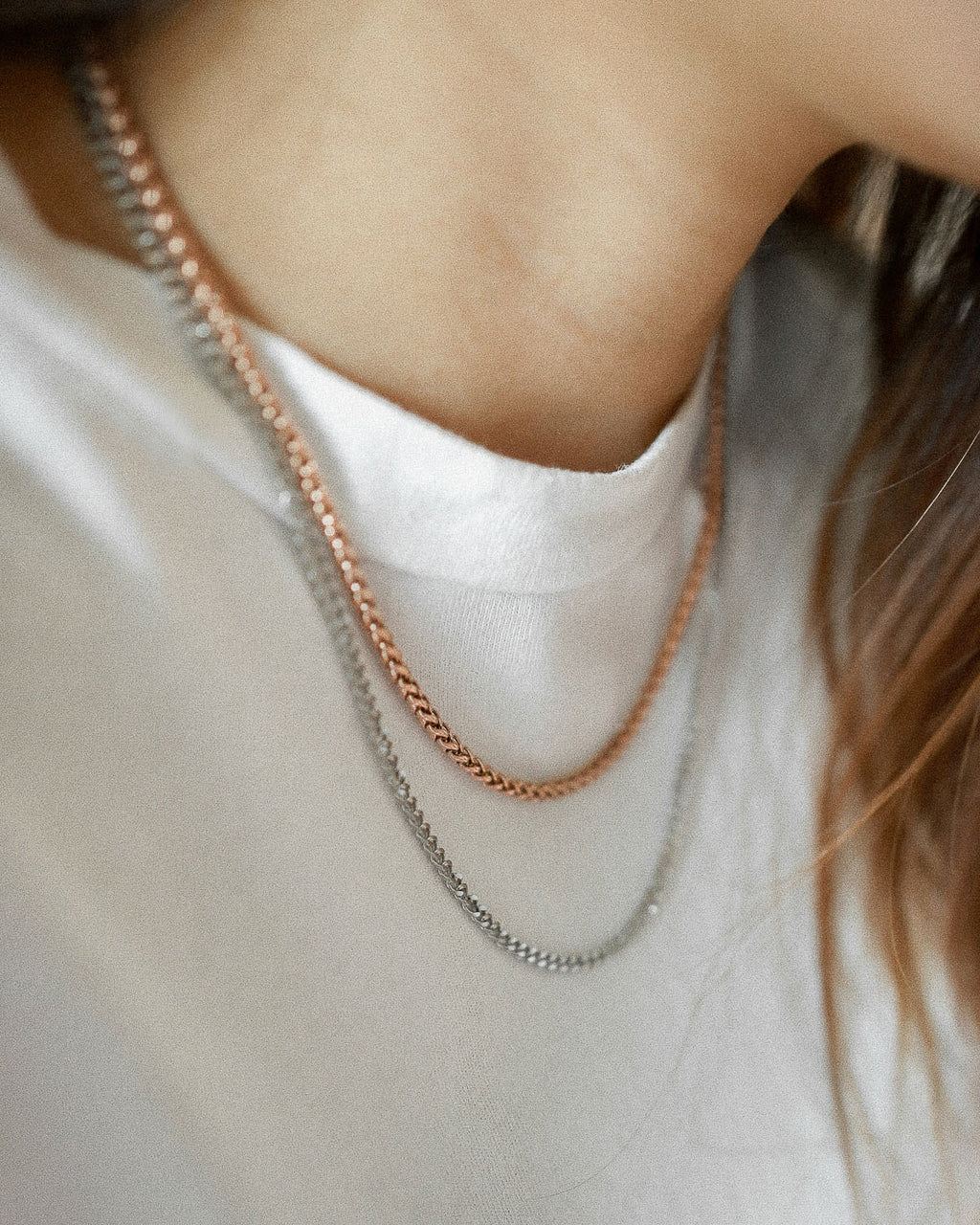 Rose gold and silver chain necklace stack - The Hexad Jewelry