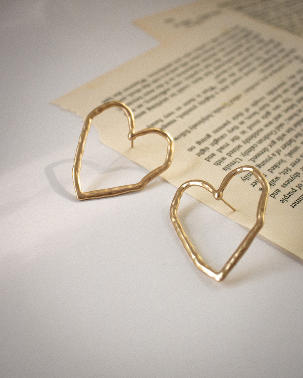 Scribble heart earrings in gold by TheHexad