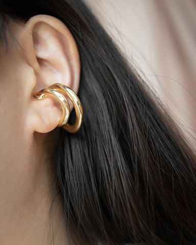 Show off your rebellious side with these chunky statement Saturn ear cuffs by The Hexad Jewelry