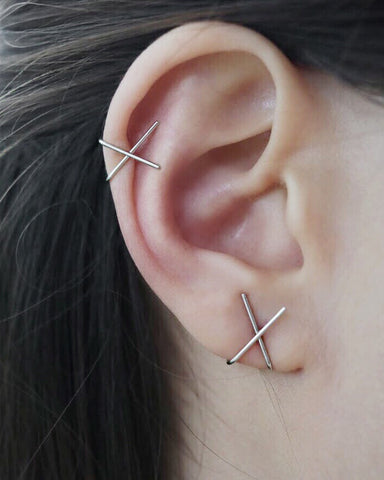 Silver Cross Ear Cuff worn on the earlobe and Helix - The hexad