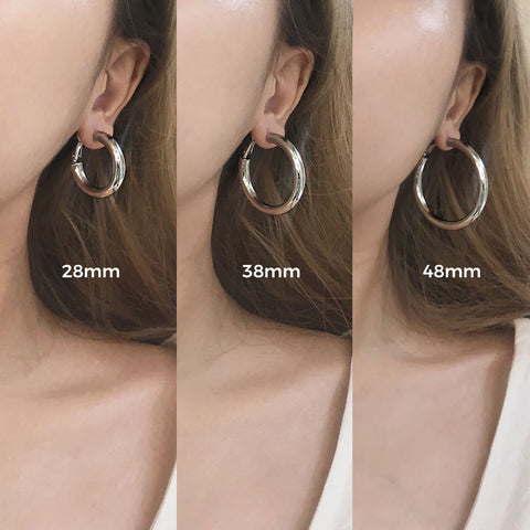 Silver Kyo Hoops by TheHexad - 28mm, 38mm and 48mm size diameter comparison