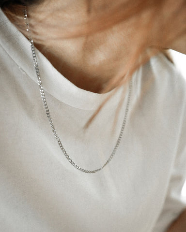 Silver hardware necklace in 20inch length by The Hexad