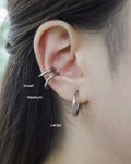 Silver hoops ear stack, no piercing required - The Hexad