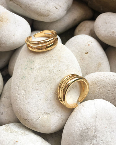 Simple and stylish double banded gold rings by THE HEXAD JEWELRY