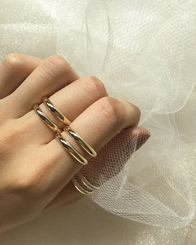 Sleek double band rings in gold - The Hexad Jewelry