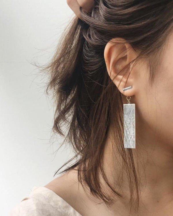 Sleek rectangle drop earrings in matte finish - THEHEXAD