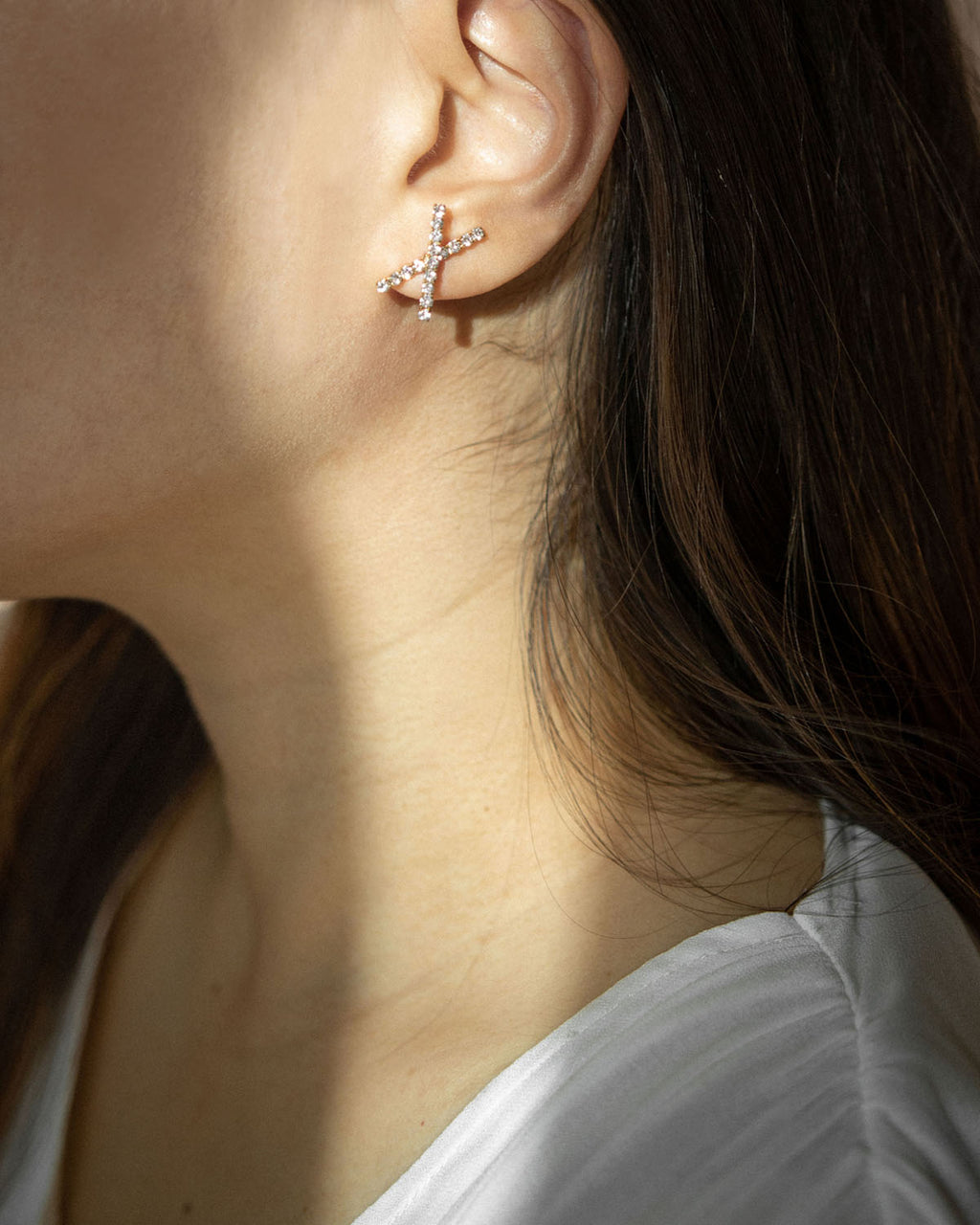 Sparkly cross shape earrings with diamante @thehexad