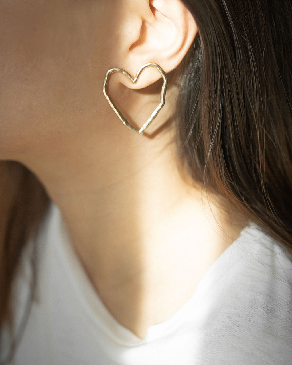 Statement heart shape earrings in matte gold - The Hexad Jewelry