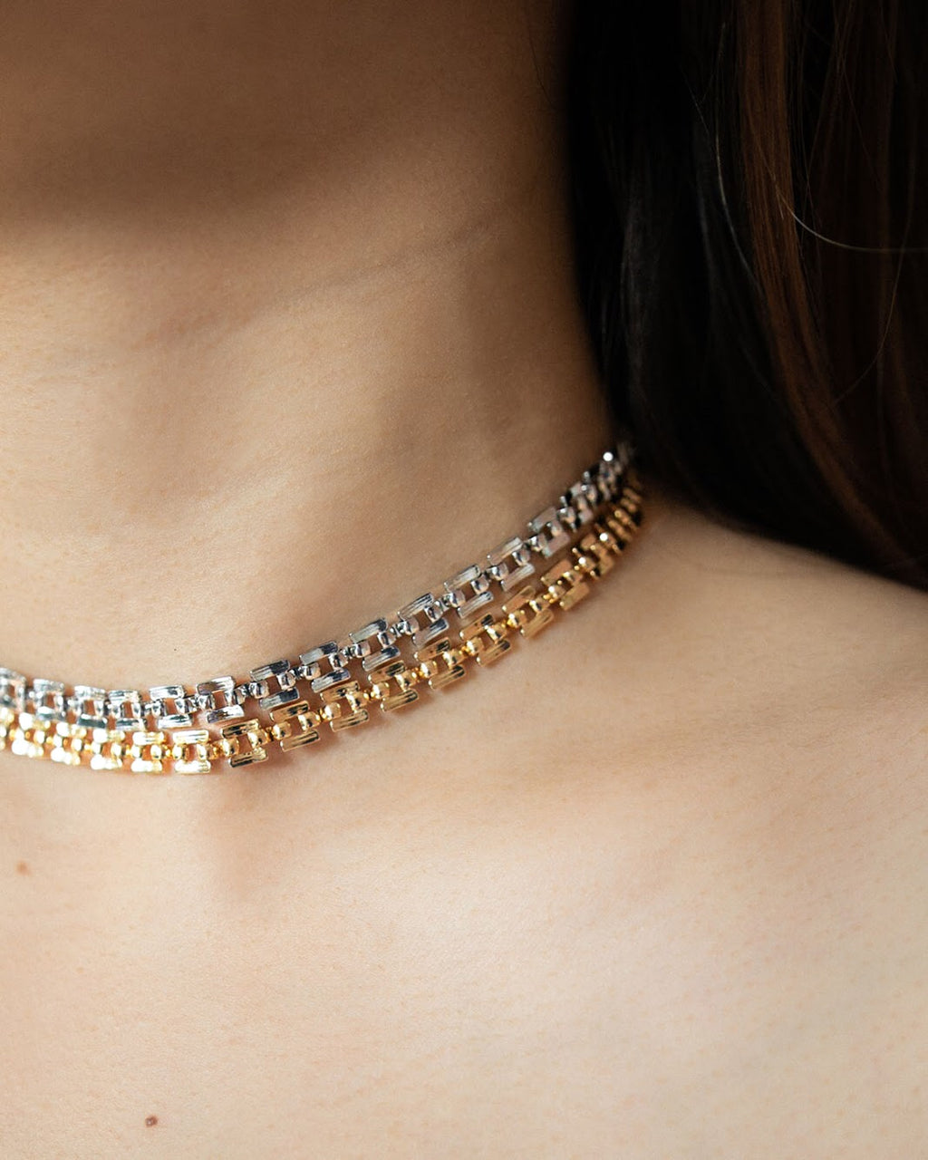 Stylish choker necklace with intricate chain link details - Tetris choker by The Hexad Jewellery