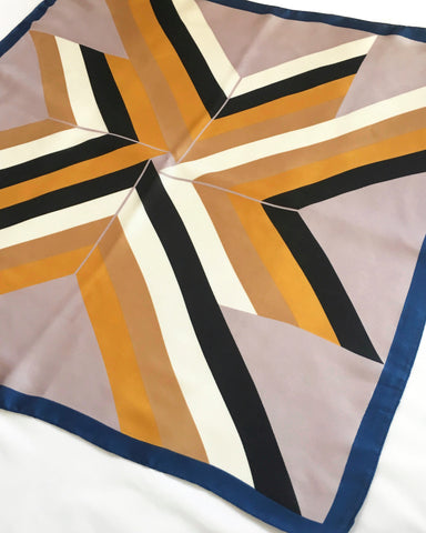 Tetris Scarf by TheHexad - gold tones and black outlines in a geometric printed pattern