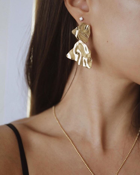 Textured lava earrings in gold - The Hexad Jewelry