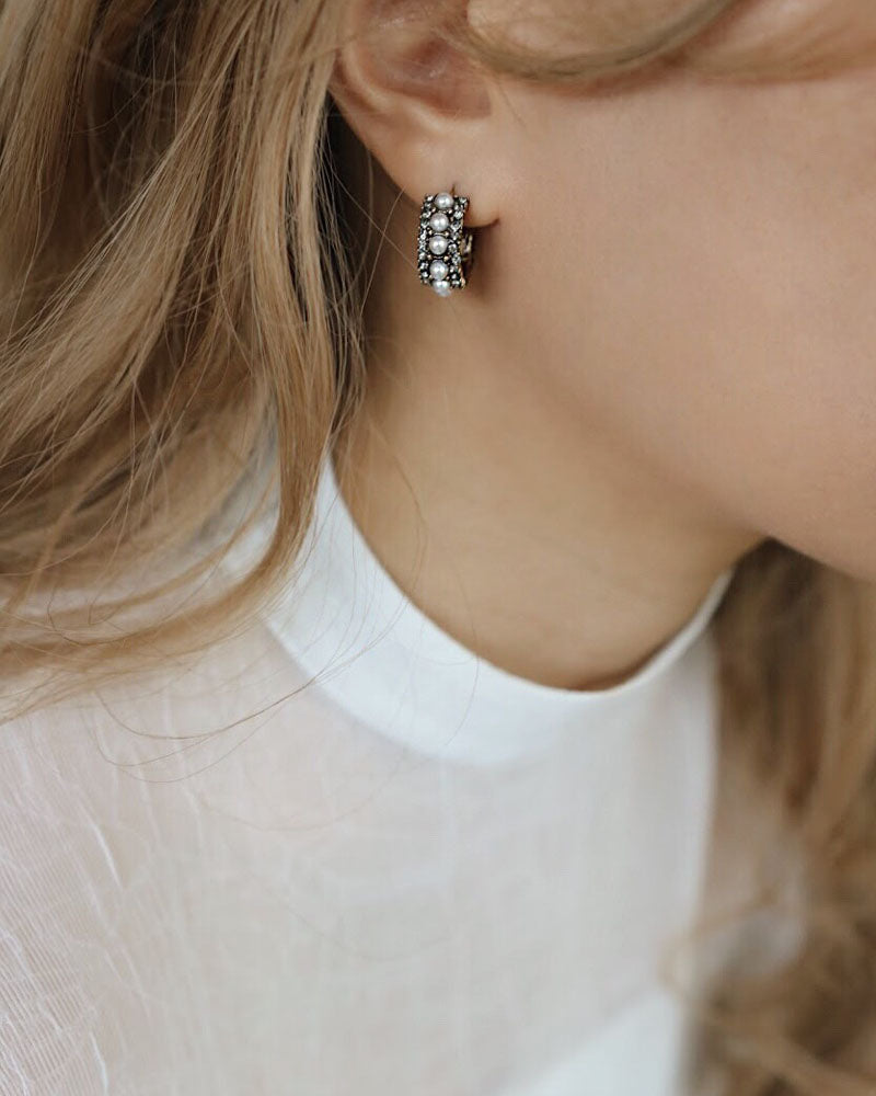These vintage inspired pearl hoop earrings exudes a classy touch of sophistication - The Hexad