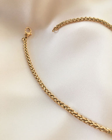 Thick 18inches Woven Chain in Gold - The Hexad Jewelry