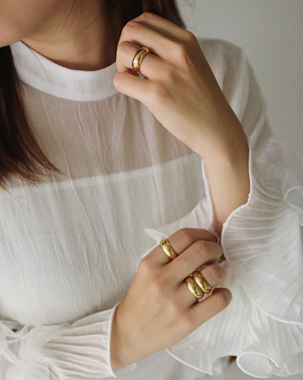 Classic chunky gold rings by THE HEXAD