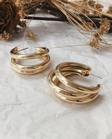 Three separate gold hollow hoops in one statement earring - Trio Hoops by The Hexad