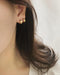 Tiny golden hoop studs earrings - The Hexad
