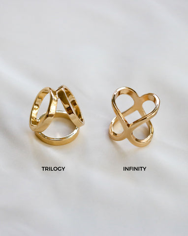 Trilogy and Infinity Scarf Rings in Gold - The Hexad