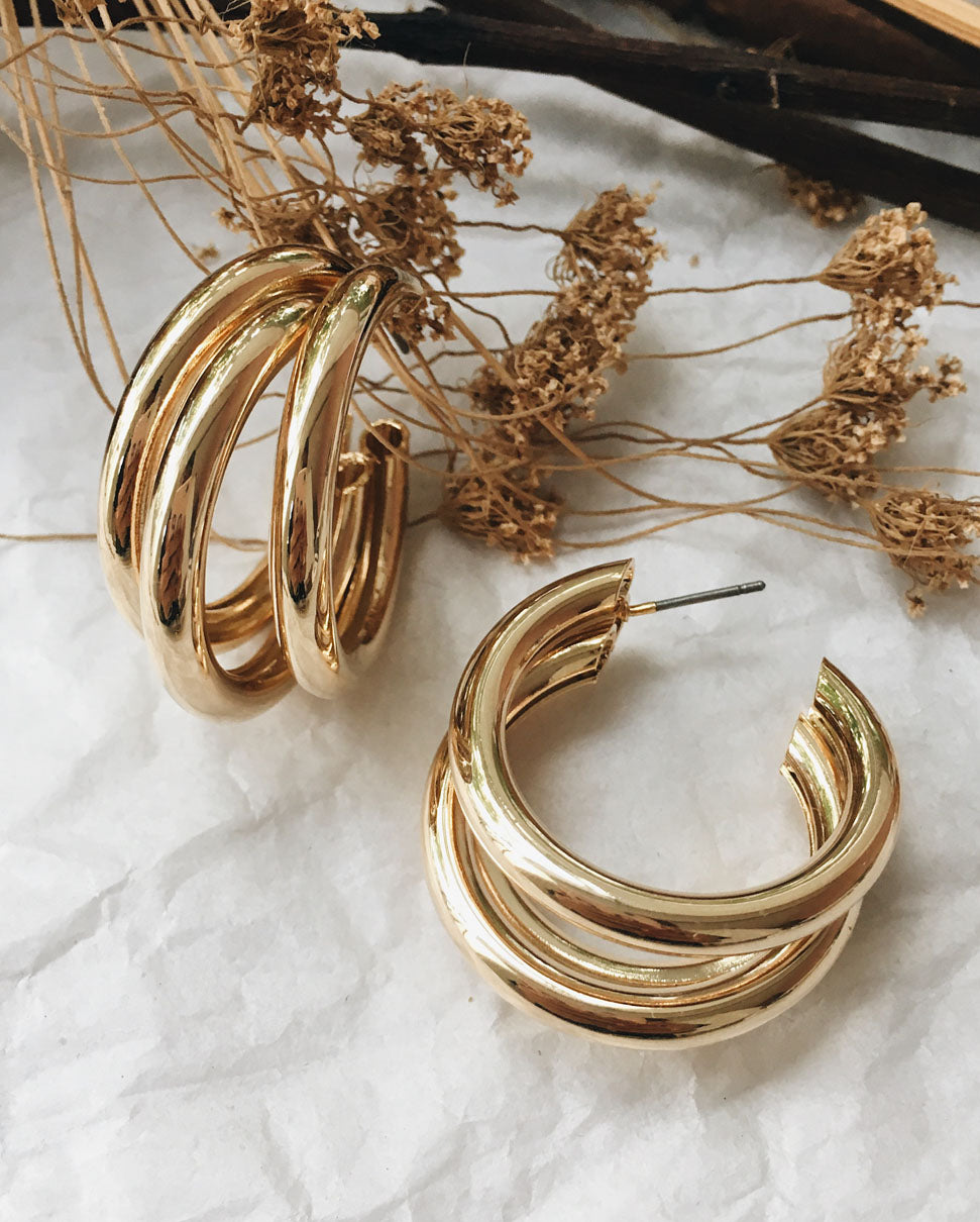 Triple Hoop Earrings in Gold - The Hexad