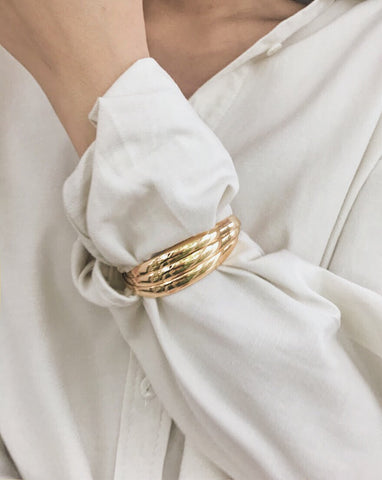 Triple Stacked Cuff Bangle in Gold - TheHexad