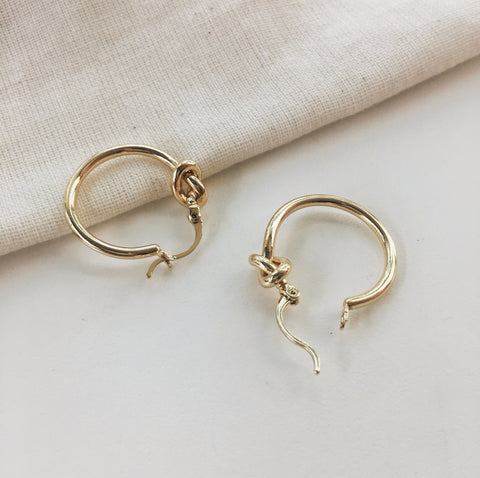 Ukiko Knot Hoop Earrings in Gold - The Hexad Jewelry