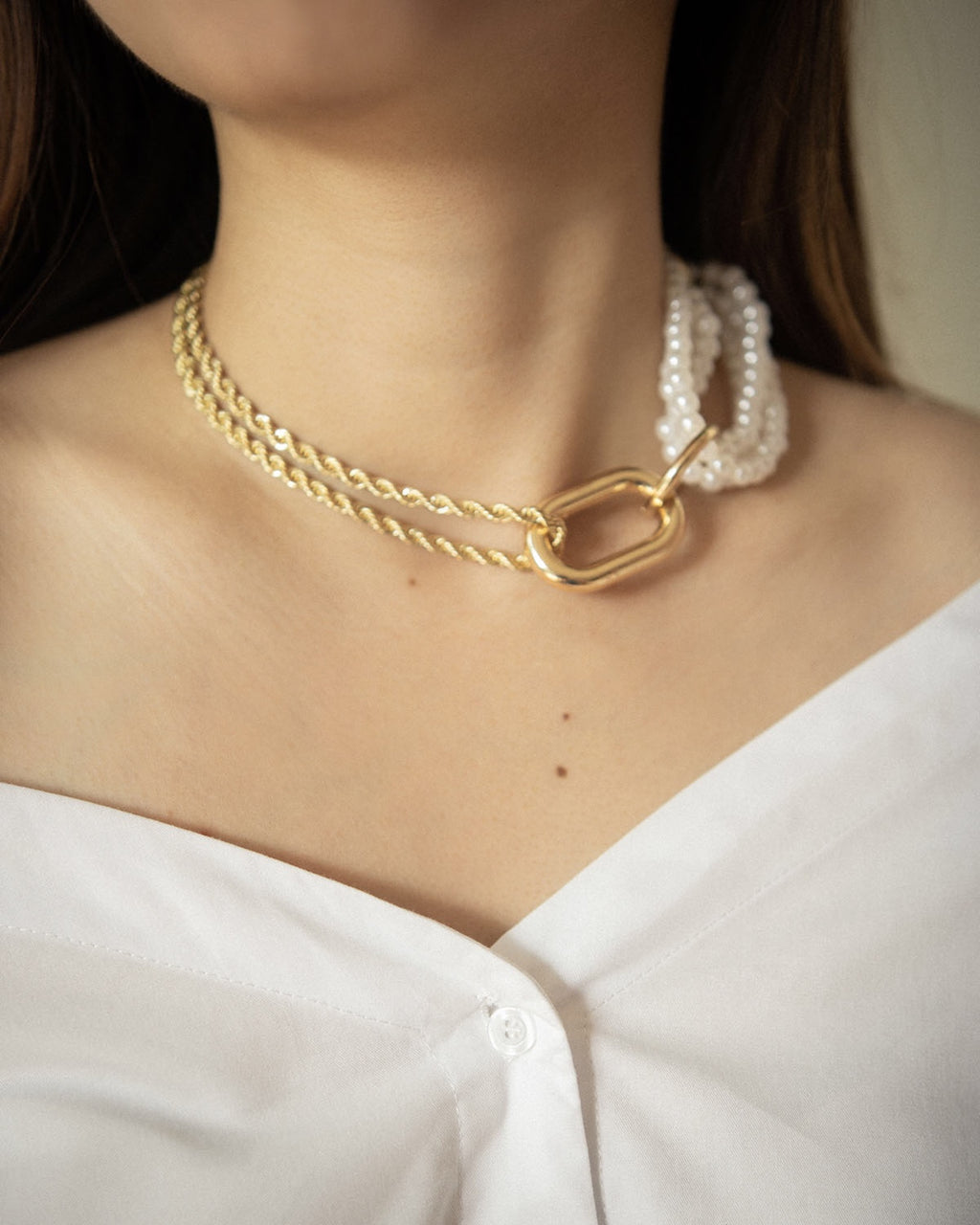 Unique statement necklace with braided gold chains and a cluster of faux pearls - Isabeau necklace by The Hexad