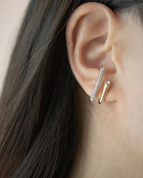 Unique suspender earrings encrusted with shiny diamante for a classy look - The Hexad