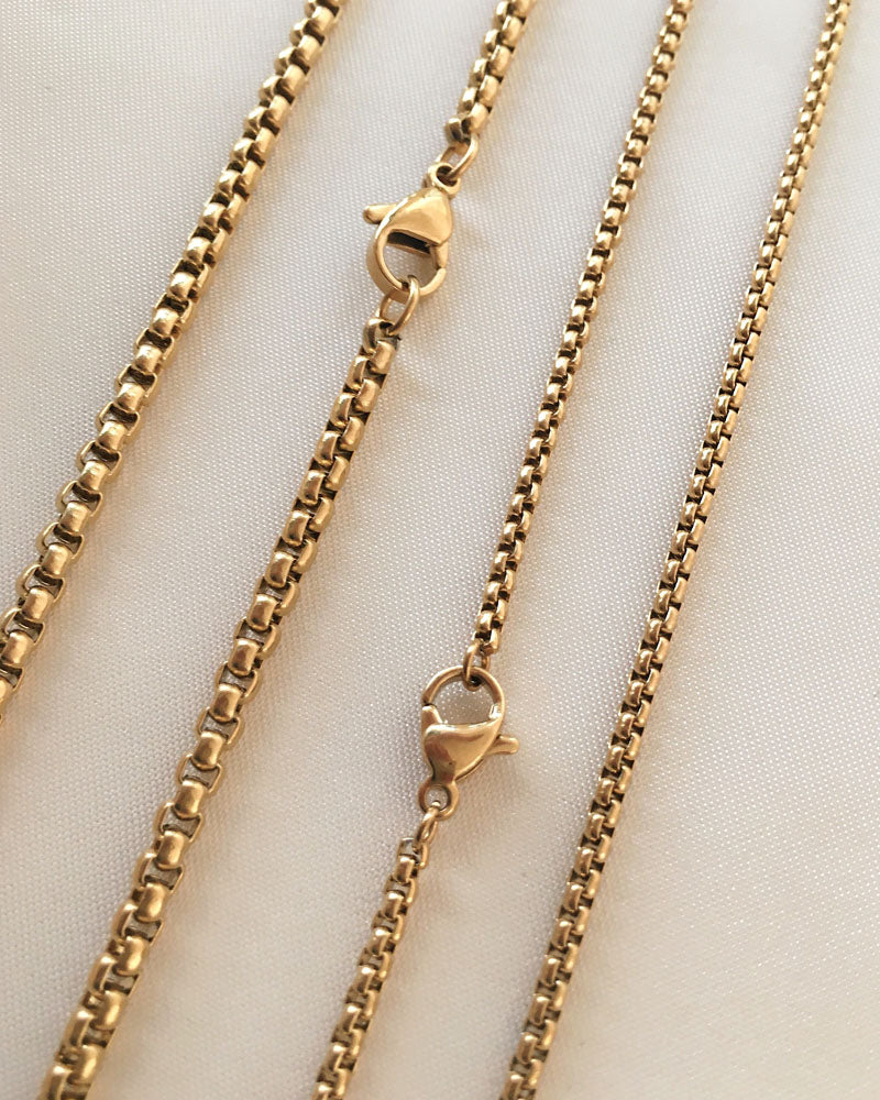Versatile box cut golden chain with lobster clasp crafted in stainless steel - The Hexad Jewelry