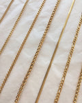 Versatile gold chains in various textures made for layering - The Hexad Jewelry