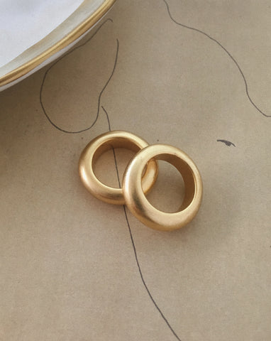 Vintage finish chunky gold rings - Solo Matte Ring by The Hexad Jewelry