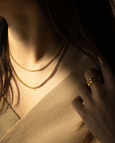 Vintage inspired square chain necklaces that are perfect for layering but also good on its own - The Hexad