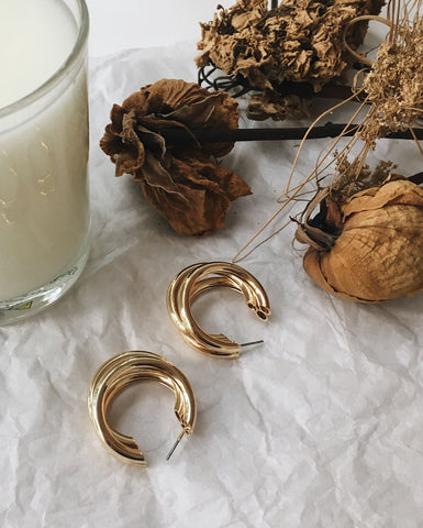 Vintage triple gold hoop earrings - TheHexad