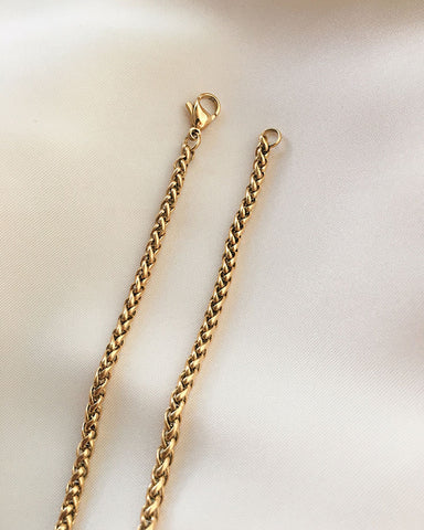 Woven braided gold-plated stainless steel chain necklace - The Hexad