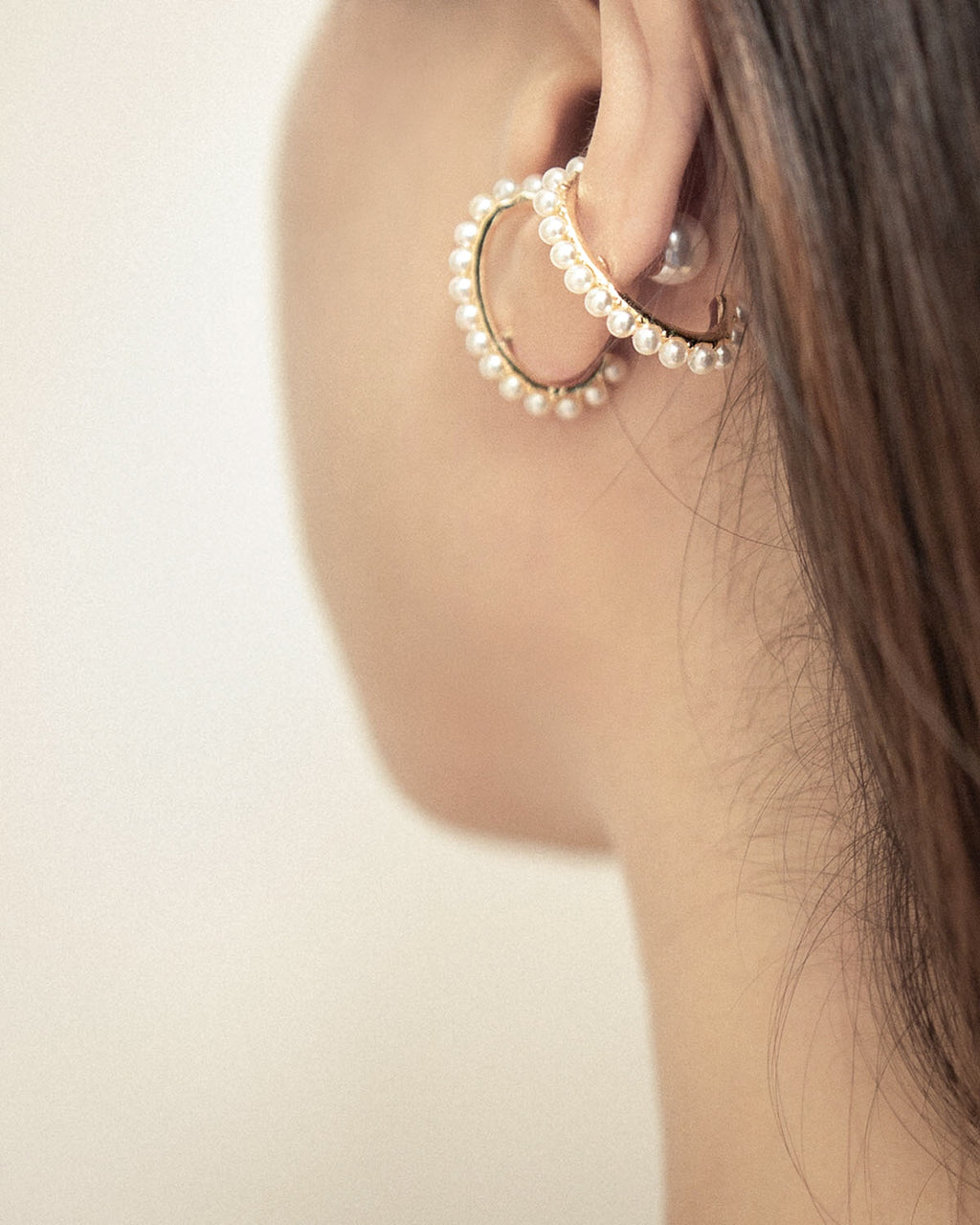 Yvette suspender earrings with a pearl ear backing - The Hexad
