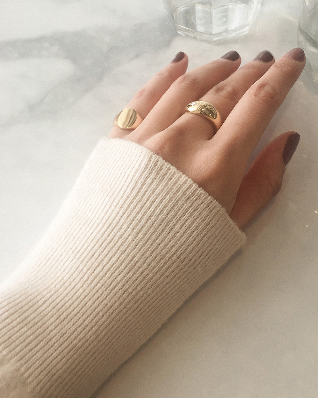 adorn your fingers with a chunky ring matched with a classic signet style ring - The Hexad Jewelry