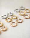 basic huggie hoop earrings in silver, gold and rose gold