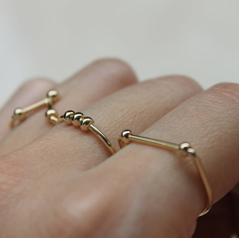 Minimalist Stacking Rings resembling Constellations - The Hexad Jewelry