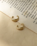casual gold ear cuffs with a triple band design
