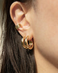 chunky gold stack with the bold rei hoops and thick cleopatra ear cuffs from the hexad