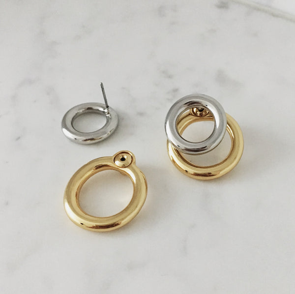 double circle layer earrings