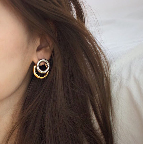 circle layering silver and gold studs earrings thehexad