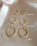 comparison of the hexad gold rei hoop earrings in different sizes