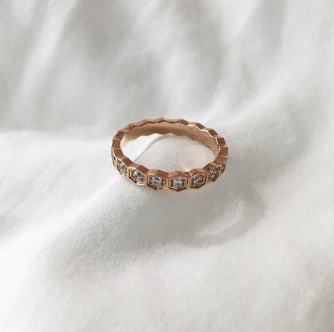 Cubic Zirconia Honeycomb Ring in Rose Gold - The Hexad Jewelry