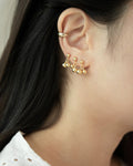 cute cherry dangle ear studs in gold