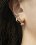 dangly circus charms huggie earrings in rose gold