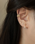 delicate heart shape ear studs pave with diamantes