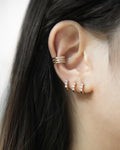 diamond huggie hoops and ear cuffs - The Hexad