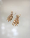 vintage style drop earrings in gold and rhinestones