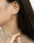 gatsby drop earrings styled with the cosmic ear cuff by the hexad label