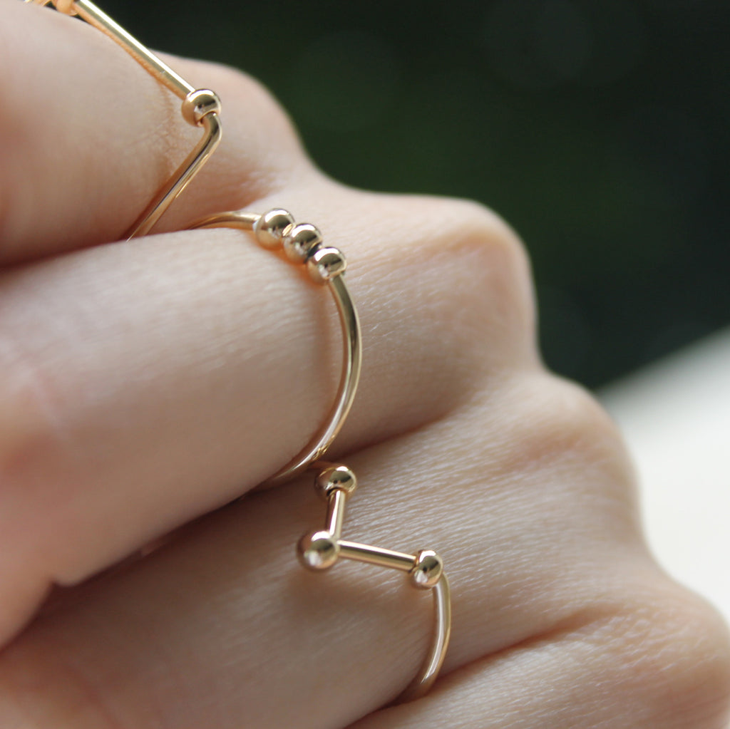 Gold Plated Minimalist Rings - The Hexad Jewelry