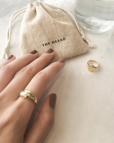 gold plated dome shape chunky ring - The Hexad Jewellery